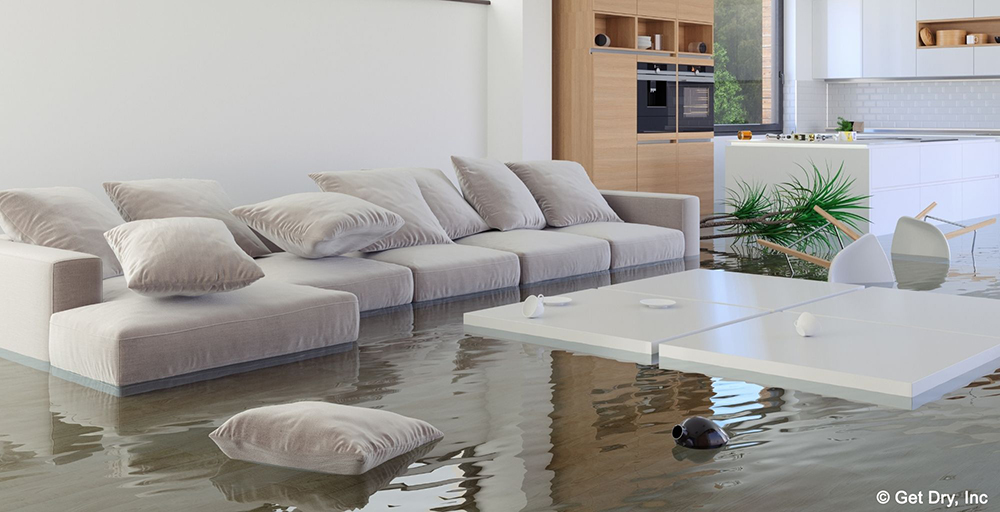 Palm Beach County Flood Damage flooded living room
