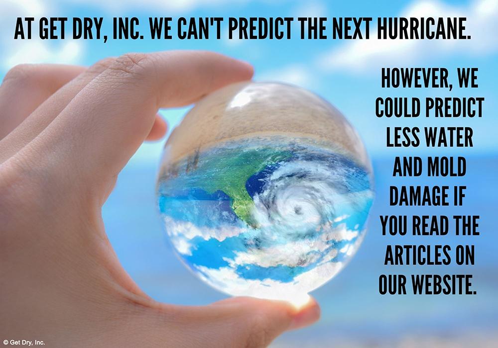Crystal ball predicting a Florida hurricane.