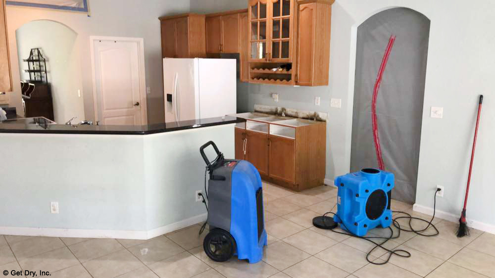 Mold remediation taking place in a Mold Damaged home.